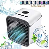 Miaogo Mini Air Cooler, Humidifier and Air Purifier 7 Colors 3 Speed Mobile Air Conditioners Humidifier for Home Office Car Outdoor (White), white