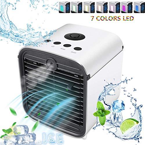 Nifogo Mini Luftkühler, Luftbefeuchter und Luftreiniger, 7 Farben 3 Lüftergeschwindigkeiten Mobile Klimageräte Luftbefeuchter für Home Office Auto im Freien (Weiß) (Weiß)