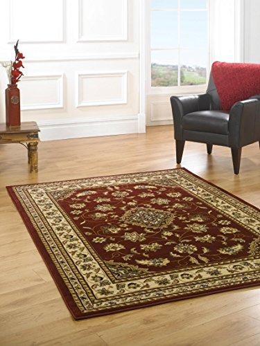 Pequeño clásico estilo persa Oriental tradicional Floral alfombra/estera, rojo–80x 150cm