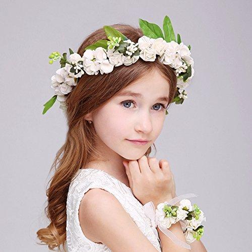 Ruier-hui Blumenmädchen Blumenkranz Set-Handwerk Blumenkrone Stirnband+Armband für Hochzeit/Party/Geburtstag,Blumenstirnband Kit für Mädchen,weiß (Mädchen Stirnbänder Handwerk)