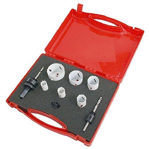 9pc Bi Metall HSS Lochsäge Schneiden Set schneidet Metall Stahl Eisen Messing Aluminium Holz (Acryl-krug Und Glas-set)