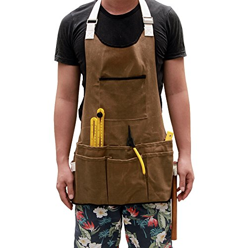 Heavy Duty Toile cirée Atelier poterie Craft Carpenter Outil Tablier avec huit poches, épais étanche utilitaire Outil tabliers pour homme et femme Cadeau de Noël (Hsw-72)