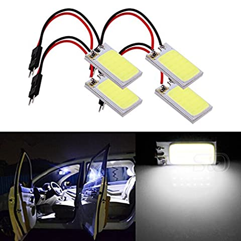 S&D 4-Pack Car Interior Bulbs 18 LED COB Super Bright Dome Lights Reading Door Light Panel Lights With T10 BA9S C5W Adapter 3W