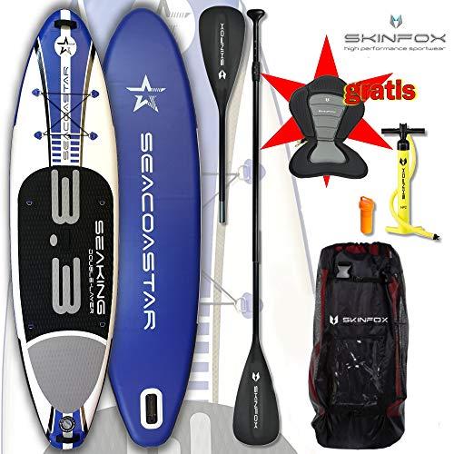 SEACOASTAR Aktion SEAKING SUP Board Paddelboard aufblasbar blau Set ALU-KOMPLETT-Set inkl. Kayak-Seat (Board,Bag,Pumpe,Repair-Set,ALU-SUP-/Kayak Paddel+Kayak-Seat) ERSPARNIS: 35 Euro