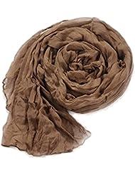 Y-BOA – Foulard/Echarpe Froissé – Femme/Fille Moderne – En Coton –L.180*100CM- Automne/Hiver (#11 Brun)