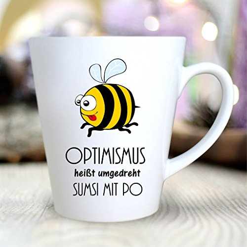 "Wandtattoo Loft Bedruckte Konische Keramiktasse ""Schriftzug: 'Optimismus heißt umgedreht Sumsi..."