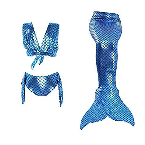 Mädchen Meerjungfrau Schwanz Badebekleidung Bademode Für Das 3 Stück Bikini Cosplay Meerjungfrau Flosse- Prinzessin Schwimmbad Am Meer Machen Sie EIN Foto