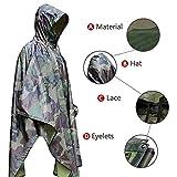 Aodoor Regenjacken Regenponcho wasserdicht regenmantel für die Jagd Camping, Freizeit Regenmantel, Camouflage Rain Poncho - 2