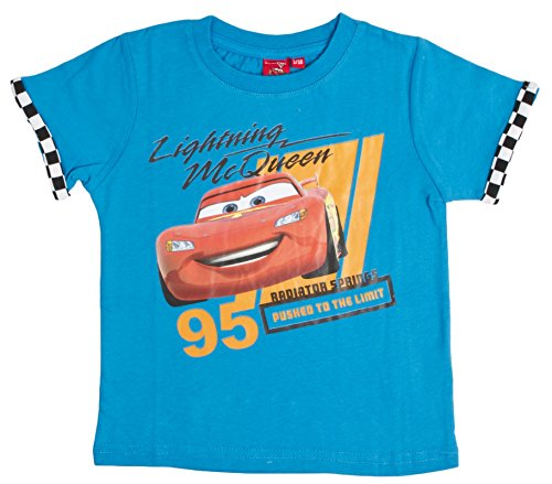 Image of Boys Disney Cars Lightning McQueen T Shirt Blue Size 3 Years