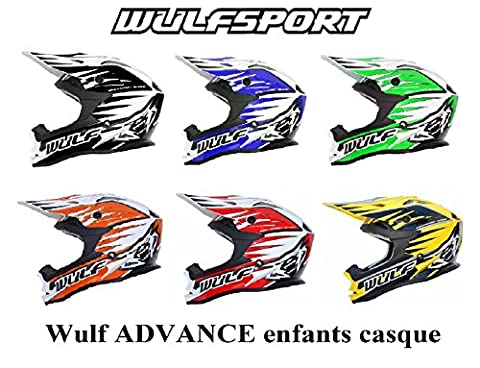 moto enfants casque Wulf ADVANCE enfants quad course mx motocross sportive ECE ACU (approuvé) casque (Orange, S)