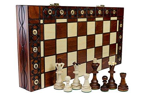 SENATOR - große 40cm/16 In Handarbeit klassische Holz-Schachspiel