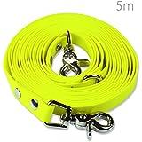 Schleppleine 5m - Neon-Gelb - zugfeste, schmutz- und wasserabweisende Hundeleine mit zwei Karabinern