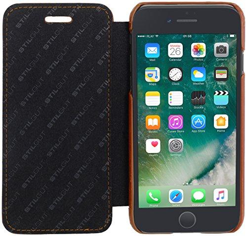 StilGut Book Type Case, Hülle Leder-Tasche für Apple iPhone 8 Plus. Seitlich klappbares Flip-Case aus Echtleder für das Apple iPhone 8 Plus, Schwarz Nappa Cognac