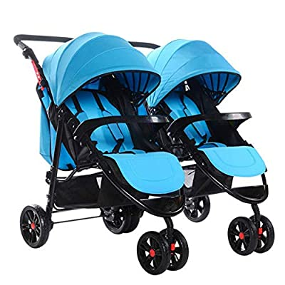 WENYAO Cochecito de bebé de los Gemelos divisibles Sentado Recostado Plegable Cochecito biplaza de Dos Asientos Bebé Asiento Cochecito Infantil, Azul