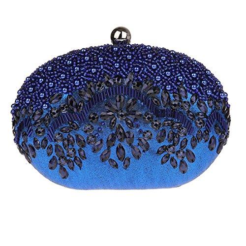KAXIDY Forma Unica Donna Pochette da Sera Cerimonia Raso Borsa Tracolla Blu