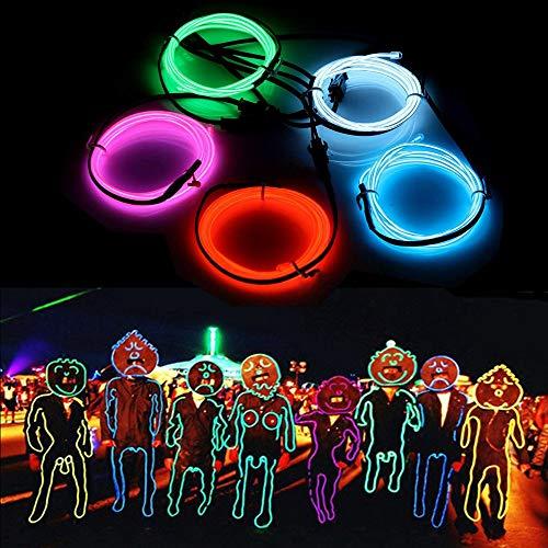 SOLMORE 5x 1m Fünf Farben EL Wire Leuchtschnur EL Kabel Lichtschnur Band Lichtschlauch Leucht Schnüre Neon Draht Light Lampe Beleuchtung Lichtband Lichtleiste Streifen für Halloween ()