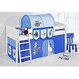 """Cama semi alta """"IDA BLANCA"""" con cortinas convertible en cama baja - Piratas Azul claro / Azul oscuro, 4106 Listones"""
