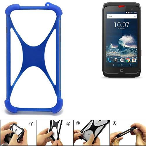 K-S-Trade Bumper Crosscall Action-X3 Silikon Schutz Hülle Handyhülle Silikoncase Softcase Cover Case Stoßschutz, blau (1x)