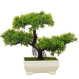 künstliche Bonsai Künstliche Bonsai-Baum Pflanzen Dekoration kunstpflanzen im Topf,Kunstpflanze Pflanze,Japanischer Feng Shui Pinien,deko Wohnzimmer,Kunstbaum,Höhe ca. 20 cm,GrüN, 39