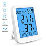Thermometer Hygrometer, Digitales Thermo Hygrometer Inne Luftfeuchtigkeit Temperatur【LCD Display| Blau Hintergrundbeleuchtung| Touchscreen| Alarm Wecker| Kalender| Uhrzeit| Nowtime】 für Schlafzimmer, Weiß