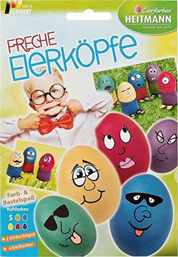 Heitmann Eierfarben - Freche Eierköpfe - Färbetabletten, Sticker und Eierbecher zum Basteln - für weiße und braune Eier