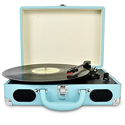 DIGITNOW! Turntable record player 3speeds with Built-in Stereo Speakers, Supports USB / RCA Output / Headphone Jack / MP3 / Mobile Phones Music Playback,Suitcase design