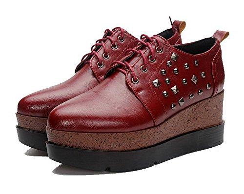 AgooLar Femme Pu Cuir à Talon Haut Pointu Mosaïque Lacet Chaussures Légeres Rouge Vineux