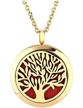 JOVIVI Edelstahl Rund Aromatherapie Ätherische Öle Diffusor Halskette Gold Baum des Lebens Medaillon Locket Anhänger