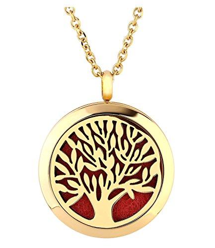 d Aromatherapie Ätherische Öle Diffusor Halskette Gold Baum des Lebens Medaillon Locket Anhänger (Gold Medaillon Halskette)
