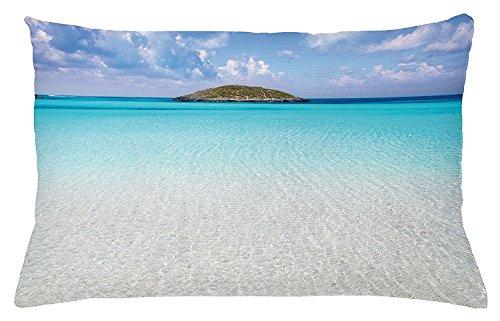 Ocean Überwurf Kissenbezug,, Paradise Beach in Karibik Wasser mit eine kleine Insel Szene Dream Away Kunstdruck, dekoratives Kissen Fall, 76,2x 50,8cm, creme türkis