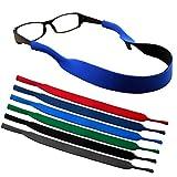 kuou 6 Pieces Sports Sunglasses Strap, Stretchy Floating Glasses Strap Neoprene Eyewear Retainer Eyeglass Strap for Men Women Kids