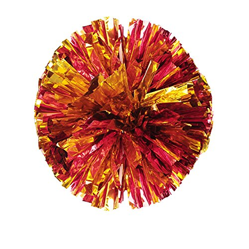 ANGTUO 2 PCS Team Sports Cheerleading Pom Poms Spiel Pom Plastikring Junggesellinnenabschied Dressing(rotes Gold)