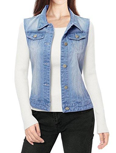 Allegra K Damen Ärmellos Button Gewaschener Jeansjacke Weste mit Brusttasche Himmelblau L (EU 44) Button Damen Jacken