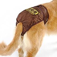 UEETEK Pañales de perro reutilizables Pantalones sanitarios Ropa interior de higiene con las bandas del vientre Ropa interior de perro Underpant para el perro perrito grande medio grande,S(marrón)