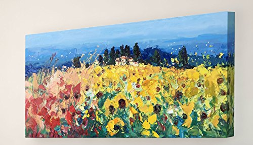 tuscan-landscape-painting-one-of-a-kind-original-mixed-media-art-sunflowers-and-poppies-country-fiel