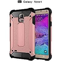 pinlu Funda Para Samsung Galaxy Note 4 (5.7pulgada) Doble Capa Híbrida Armadura Silicona TPU + PC Case Duradero Protección Anti-Rasguño Shock-Absorción Diseño Oro Rosa