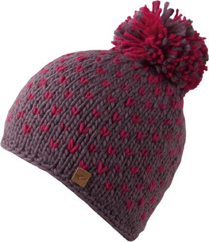 Feinzwirn Bronxx Hat - Trendige Strick Beanie mit Bommel für Damen & Herren - handmade - 2013/14, Strickmütze mit Innen-Fleece, Bommelmütze (walnut/bright rose)