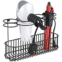 mDesign Soporte de pared para secador de pelo – Práctico estante de baño con 4 divisiones para utensilios de peluquería y 1 cesta – Organizador de baño para ...