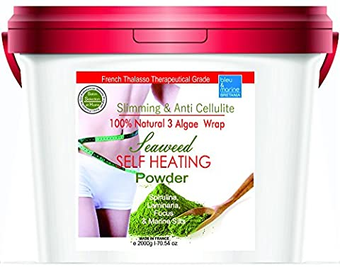 Fizzing Detox Inch- Loss and Weight Control Mud Body Wrap ● Self-Heating Seaweed 100% Natural Powder ● Nice Sea Smell ● Slimming and Anticellulite Body Wrap in powder ● Powerful Remineralizing Body Wrap ! Reduces the Appearance of Cellulites● by bleumarine Bretania ● 10 treatments Cure ● 2000 g I 4.40 LB