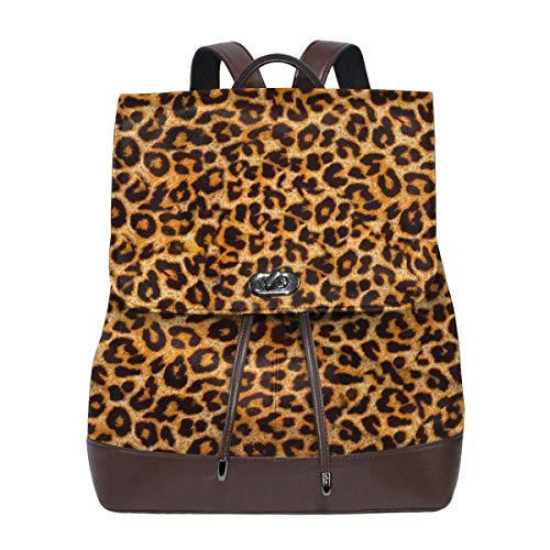 Flyup Women's Leather Backpack Leopard Laptop Bag Fashion Casual Daypack Travel Shoulder Bag For Men Frauen Leder Rucksack (Pokemon Rucksack Auf Rädern)