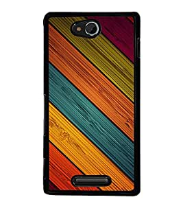 printtech Wooden Colored Streaks Back Case Cover for Sony Xperia C , Sony Xperia C HSPA+ C2305