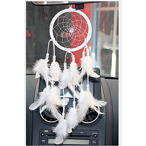 Helper007 Handmade Dream Catcher Net With feathers Wall Hanging Decorations 1 Piece White Test