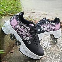 ZSPSHOP Patín En Línea Zapatos Multiusos 2 En 1 Botas Ajustables para Patines De Cuatro Ruedas Blanco,Black 39