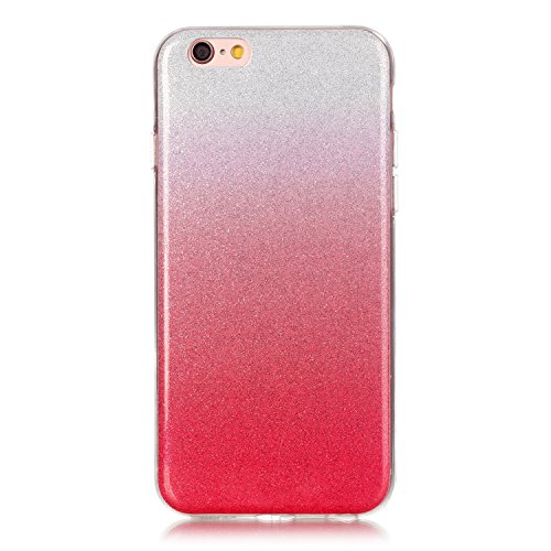 iPhone 6 Plus Case,iPhone 6S Plus Hülle - Felfy Apple iPhone 6 Plus/6S Plus 5.5 Zoll Ultra Slim Ultradünn Case Soft Gel Flexibel TPU Silikonhülle mit Bling Sternchen Gradient Farbe Design Protective S Rote Case