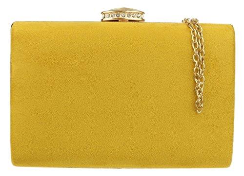 Bolso amarillo de fiesta con cadena dorada
