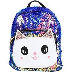 Mochila linda de la historieta de los niños, bolso de escuela de los niños Bolso de felpa del gatito con las lentejuelas Bolsas del almuerzo para los bebés y las muchachas en preescolar(# 1)