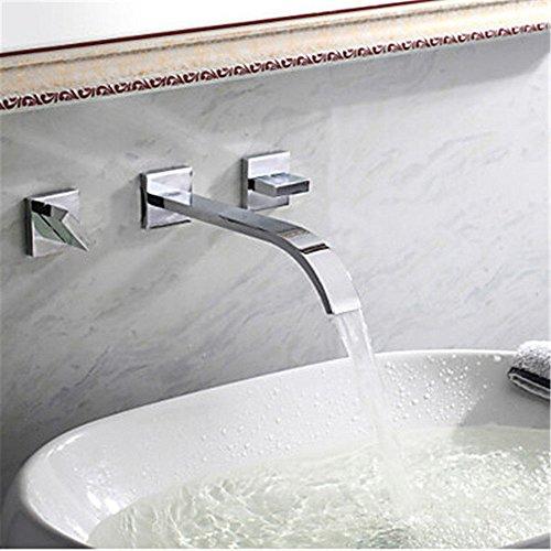 Doppel-wand-wasser (Moderne einfacheKupfer heiß und kalt Spülbecken Wasserhähne KüchenarmaturModerneKupfer Chrom Wasserhahn warmes und kaltes Wasser Mischventil Becken Wasserhahn in die Wand 3 Loch Doppel-Waschbecken)