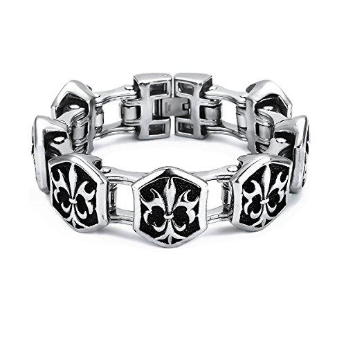 ape7® Grassi Gothic Bracciale in acciaio inox con gigli per cartelli colore argento lucido Biker catena per bicicletta