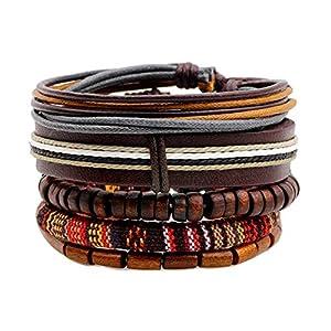 Cosanter Herren Armbänder Retro Stil Mehrschichtiges Leder Seil Gewebt Einstellbare Länge