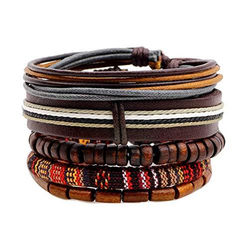 Cosanter Herren Armbänder Retro Stil Mehrschichtiges Leder Seil Gewebt Einstellbare Länge, Braun-A